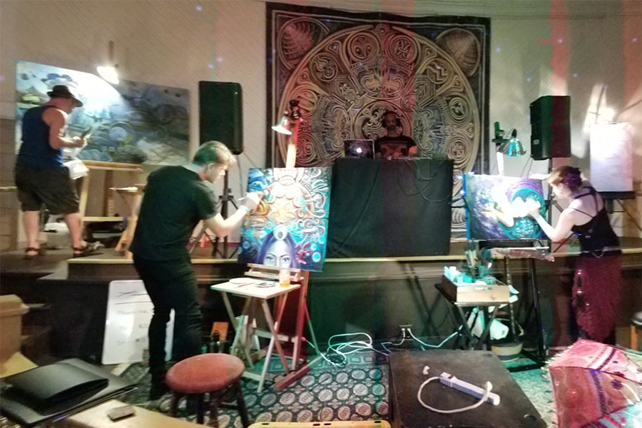Monet painting live with friends